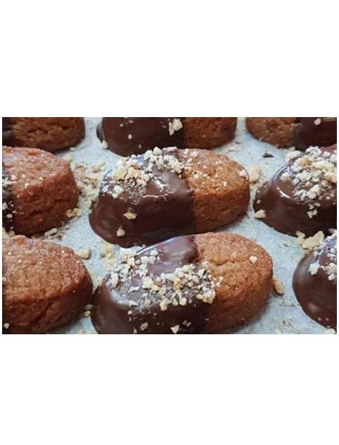 Melomakarona biscuits cinammon flavoured with chocolate coating 500gr-0