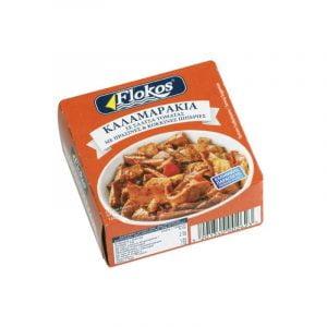 kalamarakia-Squids-tomato-sauce-green-red-peppers-160g-Flokos-Agora-Greek-Delicacies